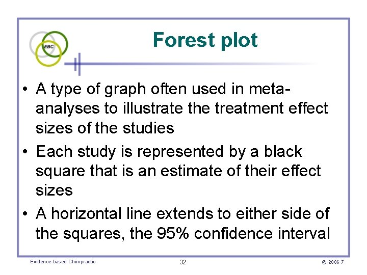 Forest plot • A type of graph often used in metaanalyses to illustrate the