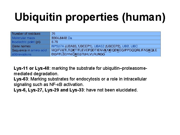 Ubiquitin properties (human) Lys-11 or Lys-48: marking the substrate for ubiquitin–proteasomemediated degradation. Lys-63: Marking