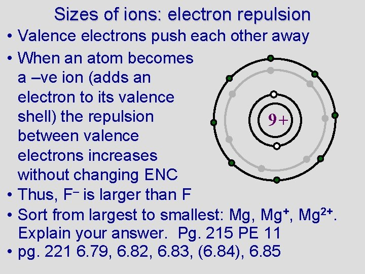 Sizes of ions: electron repulsion • Valence electrons push each other away • When