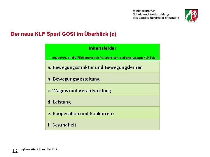 Der neue KLP Sport GOSt im Überblick (c) Inhaltsfelder --> angelehnt an die Pädagogischen