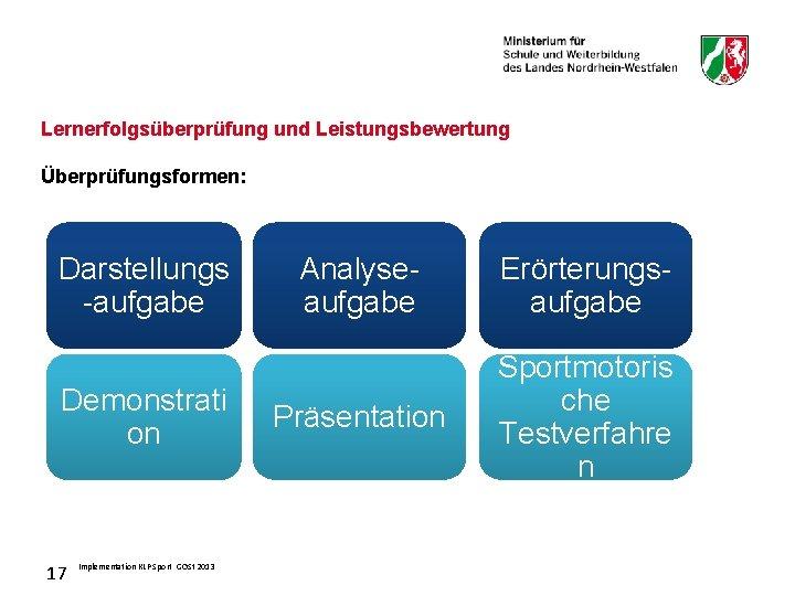 Lernerfolgsüberprüfung und Leistungsbewertung Überprüfungsformen: Darstellungs -aufgabe Demonstrati on 17 Implementation KLP Sport GOSt 2013