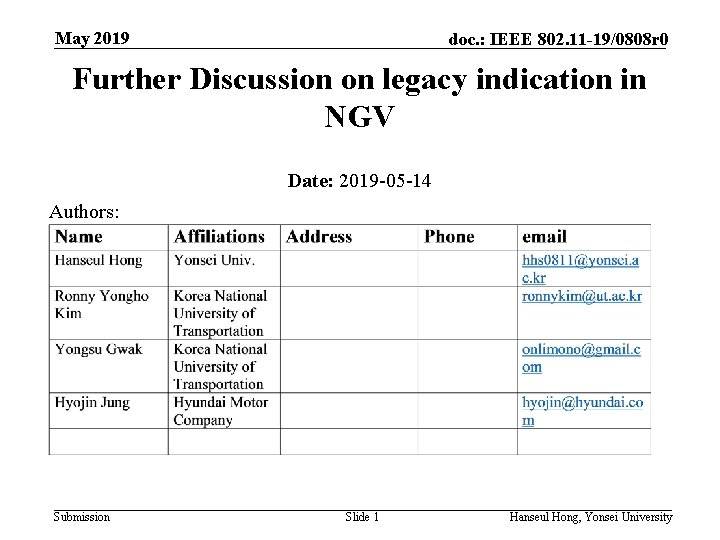 May 2019 doc. : IEEE 802. 11 -19/0808 r 0 Further Discussion on legacy