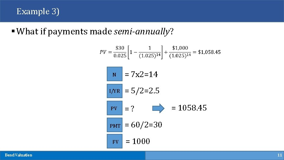 Example 3) § What if payments made semi-annually? N = 7 x 2=14 I/YR