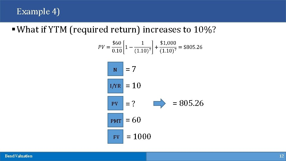 Example 4) § What if YTM (required return) increases to 10%? N I/YR =