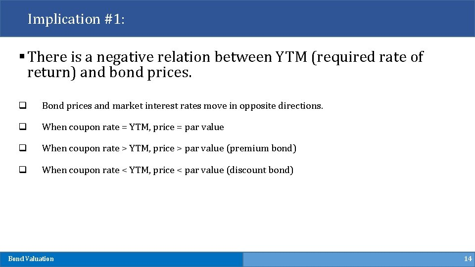 Implication #1: § There is a negative relation between YTM (required rate of return)