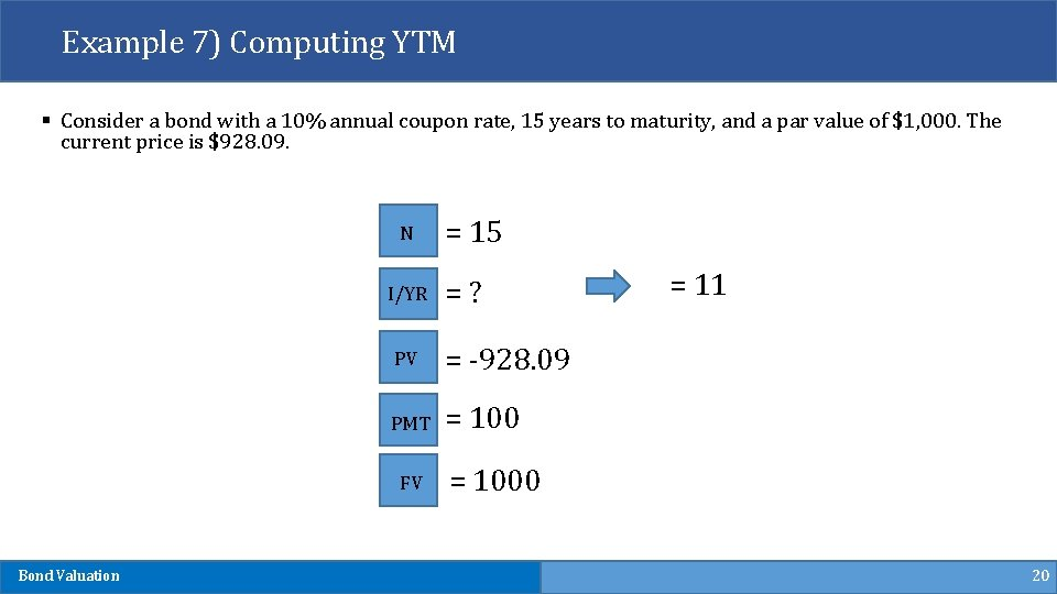 Example 7) Computing YTM § Consider a bond with a 10% annual coupon rate,