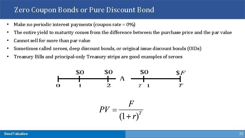 Zero Coupon Bonds or Pure Discount Bond • Make no periodic interest payments (coupon