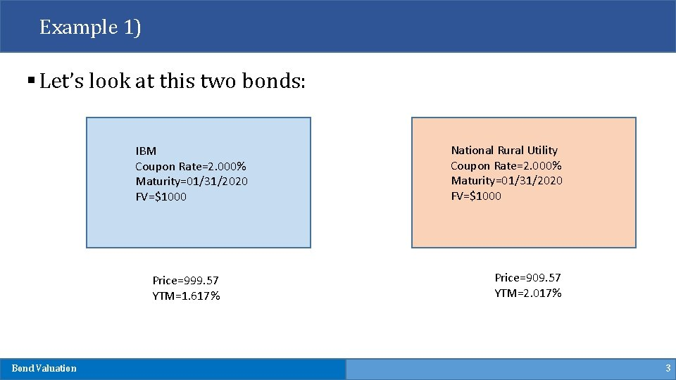 Example 1) § Let's look at this two bonds: IBM Coupon Rate=2. 000% Maturity=01/31/2020