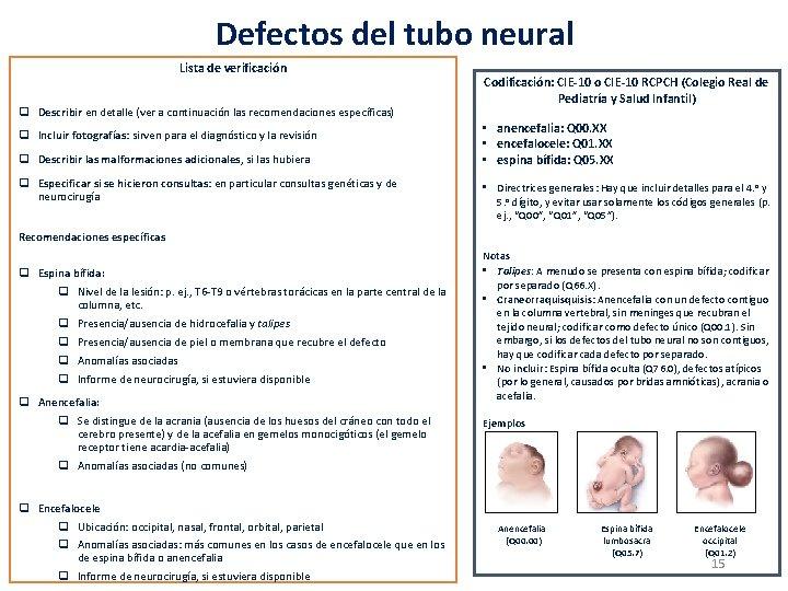 Defectos del tubo neural Lista de verificación q Describir en detalle (ver a continuación
