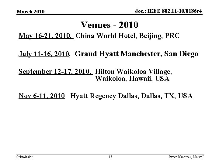 doc. : IEEE 802. 11 -10/0186 r 4 March 2010 Venues - 2010 May
