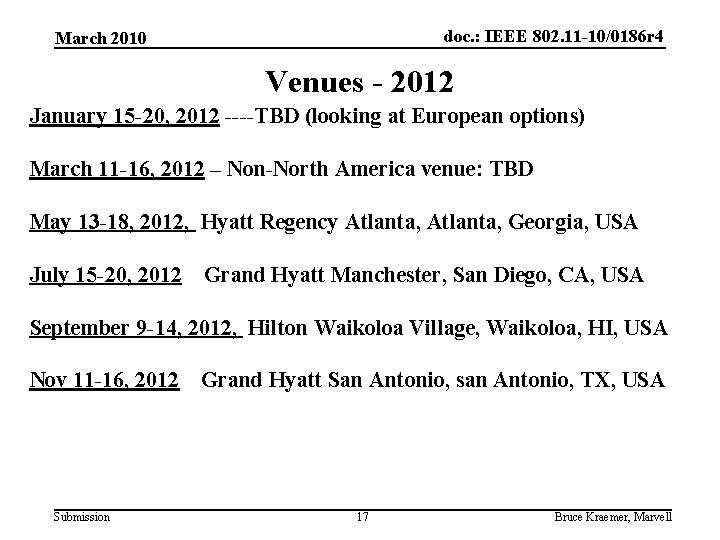 doc. : IEEE 802. 11 -10/0186 r 4 March 2010 Venues - 2012 January