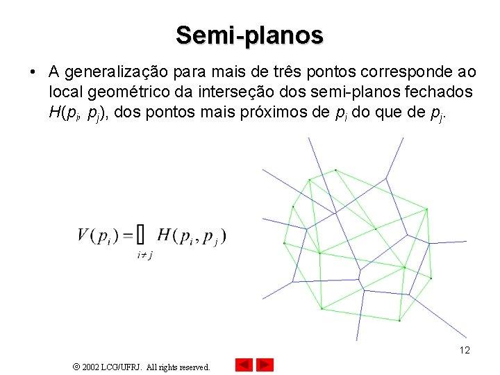 Semi-planos • A generalização para mais de três pontos corresponde ao local geométrico da