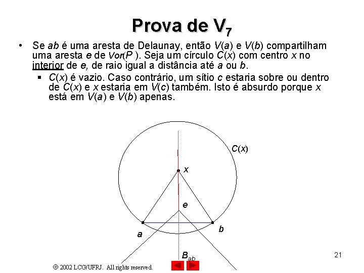 Prova de V 7 • Se ab é uma aresta de Delaunay, então V(a)