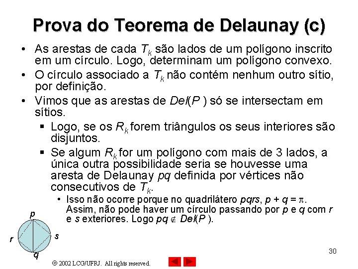 Prova do Teorema de Delaunay (c) • As arestas de cada Tk são lados