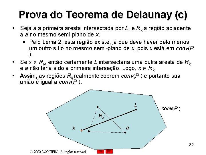 Prova do Teorema de Delaunay (c) • Seja a a primeira aresta intersectada por