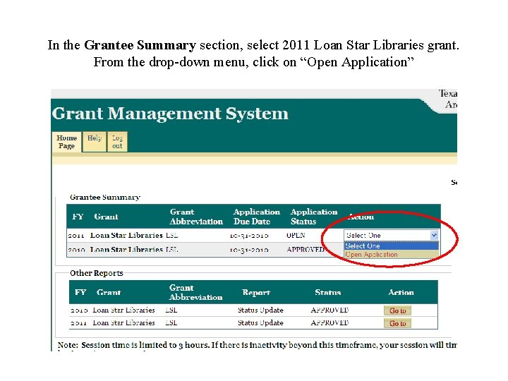 In the Grantee Summary section, select 2011 Loan Star Libraries grant. From the drop-down