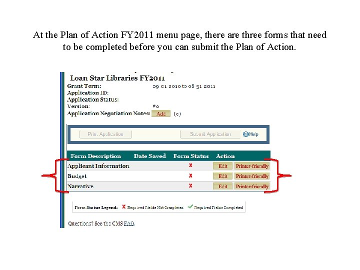 At the Plan of Action FY 2011 menu page, there are three forms that