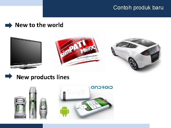Contoh produk baru New to the world New products lines