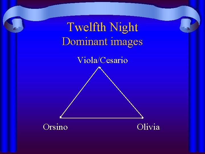 Twelfth Night Dominant images Viola/Cesario Orsino Olivia