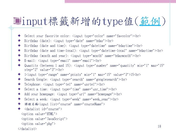 """input標籤新增的type值(範例) Select your favorite color: <input type=""""color"""" name=""""favcolor""""> Birthday (date): <input type=""""date"""" name=""""bday""""> Birthday"""
