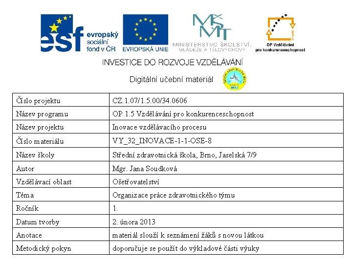 Digitální učební materiál Číslo projektu CZ. 1. 07/1. 5. 00/34. 0606 Název programu OP