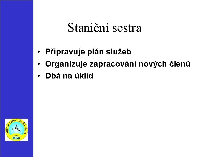 Staniční sestra • Připravuje plán služeb • Organizuje zapracování nových členů • Dbá na