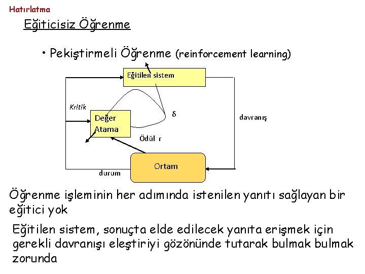 Hatırlatma Eğiticisiz Öğrenme • Pekiştirmeli Öğrenme (reinforcement learning) Eğitilen sistem Kritik Değer Atama durum