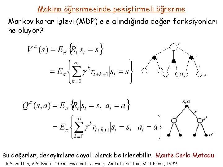 Makina öğrenmesinde pekiştirmeli öğrenme Markov karar işlevi (MDP) ele alındığında değer fonksiyonları ne oluyor?