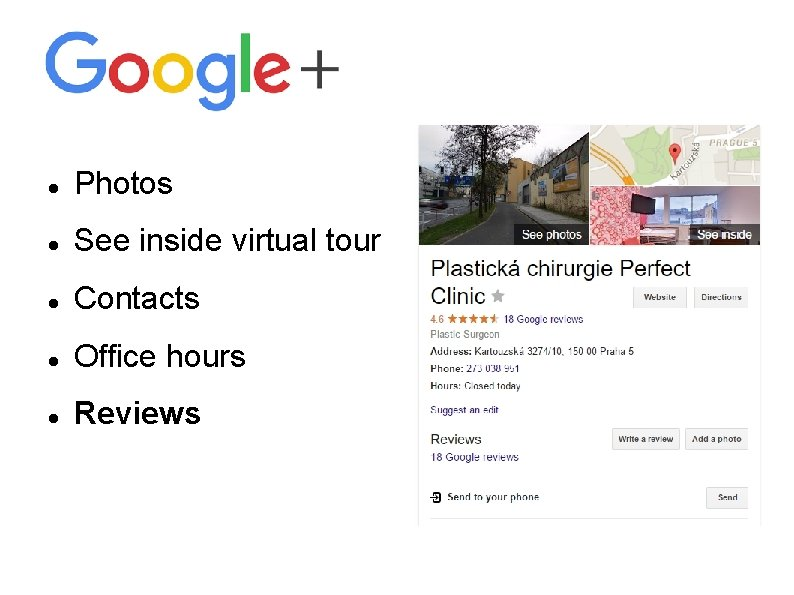 Photos See inside virtual tour Contacts Office hours Reviews