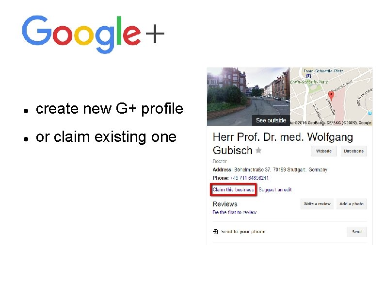 create new G+ profile or claim existing one
