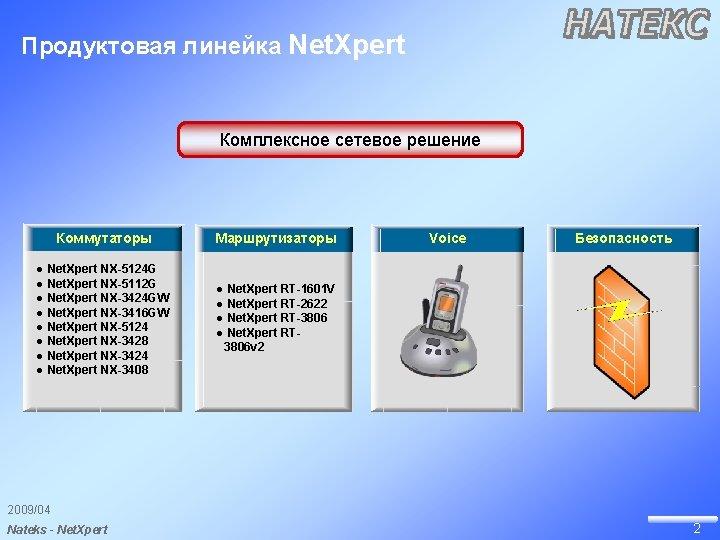 Продуктовая линейка Net. Xpert Комплексное сетевое решение Коммутаторы Маршрутизаторы ● Net. Xpert NX-5124 G