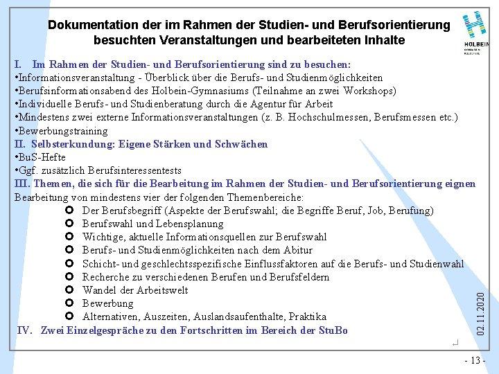 Dokumentation der im Rahmen der Studien- und Berufsorientierung besuchten Veranstaltungen und bearbeiteten Inhalte 02.