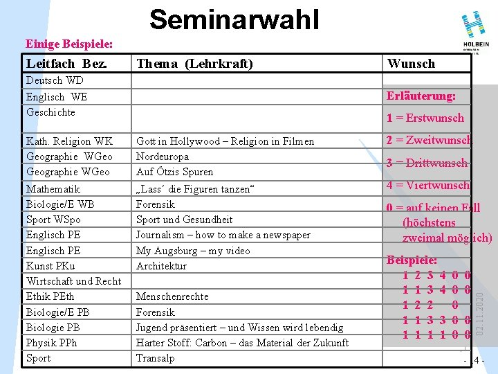 Seminarwahl Einige Beispiele: Leitfach Bez. Thema (Lehrkraft) Wunsch Deutsch WD Erläuterung: Englisch WE Geschichte