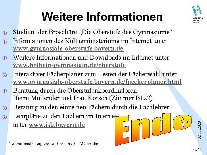 """i i i i Studium der Broschüre """"Die Oberstufe des Gymnasiums"""" Informationen des Kultusministeriums"""