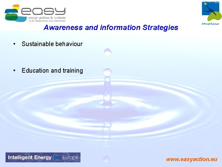Awareness and information Strategies • Sustainable behaviour • Education and training www. easyaction. eu