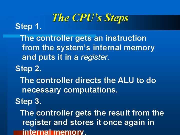 The CPU's Step 1. The controller gets an instruction from the system's internal memory