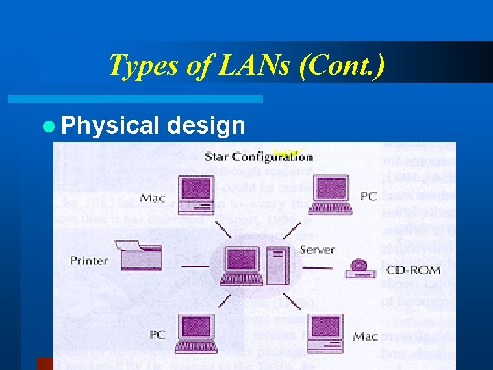 Types of LANs (Cont. ) l Physical design