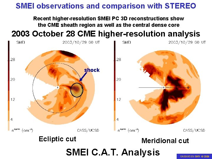SMEI observations and comparison with STEREO Recent higher-resolution SMEI PC 3 D reconstructions show