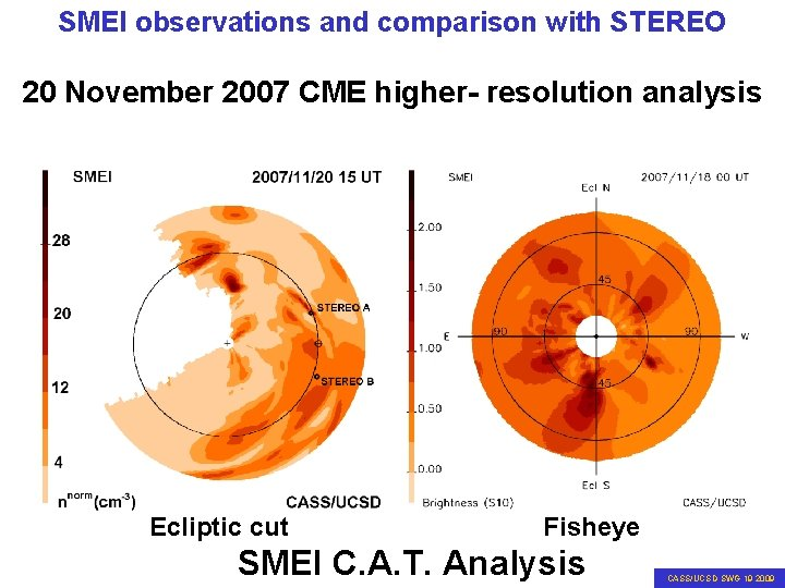 SMEI observations and comparison with STEREO 20 November 2007 CME higher- resolution analysis Ecliptic