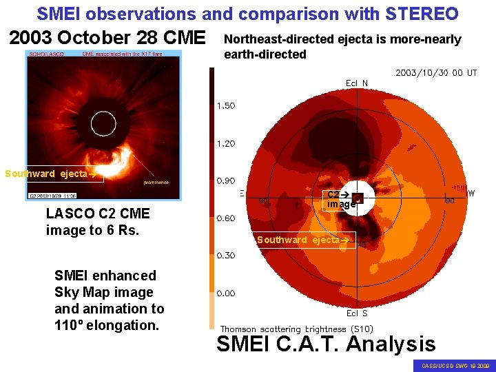 SMEI observations and comparison with STEREO 2003 October 28 CME Northeast-directed ejecta is more-nearly