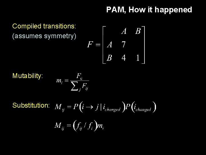 PAM, How it happened Compiled transitions: (assumes symmetry) Mutability: Substitution: