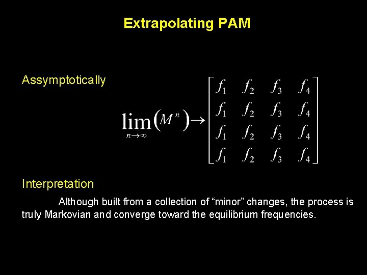 """Extrapolating PAM Assymptotically Interpretation Although built from a collection of """"minor"""" changes, the process"""