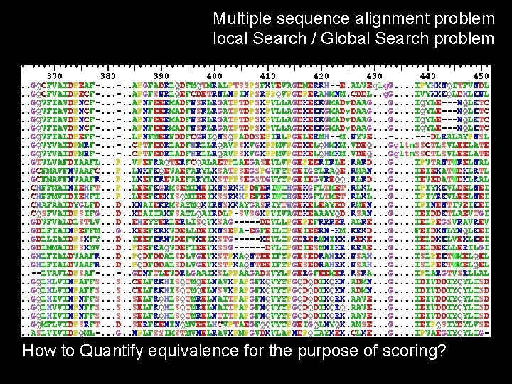 Multiple sequence alignment problem local Search / Global Search problem How to Quantify equivalence