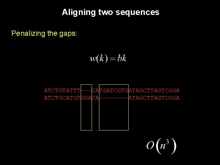 Aligning two sequences Penalizing the gaps: ATCTGTATTT---CATGATCGTGATAGCTTAGTCGGA ATCTGCATGTGGACA----ATAGCTTAGTCGGA