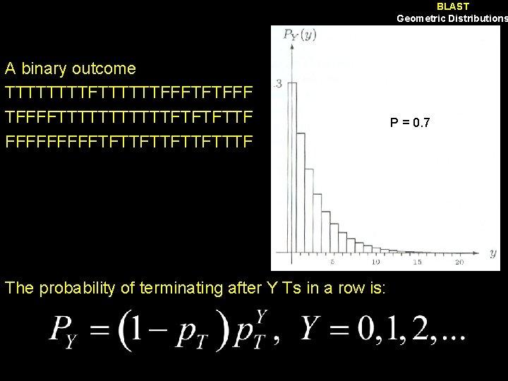 BLAST Geometric Distributions A binary outcome TTTTFTTTTTTFFFTFTFFFFTTTTTTFTFTFTTF FFFFFTFTTFTTTF The probability of terminating after Y