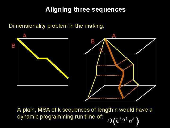 Aligning three sequences Dimensionality problem in the making: A B C A plain, MSA