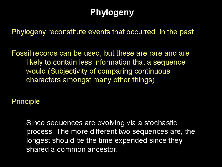 Phylogeny reconstitute events that occurred in the past. Fossil records can be used, but