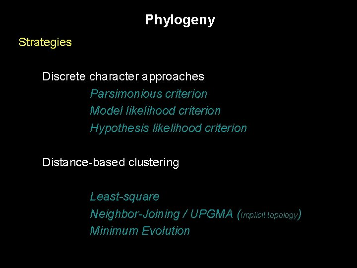 Phylogeny Strategies Discrete character approaches Parsimonious criterion Model likelihood criterion Hypothesis likelihood criterion Distance-based