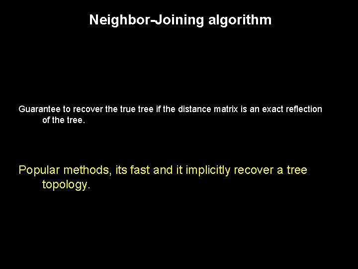 Neighbor-Joining algorithm Guarantee to recover the true tree if the distance matrix is an