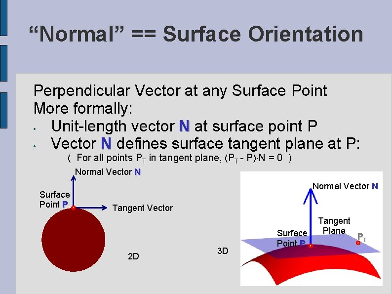 """""""Normal"""" == Surface Orientation Perpendicular Vector at any Surface Point More formally: • Unit-length"""